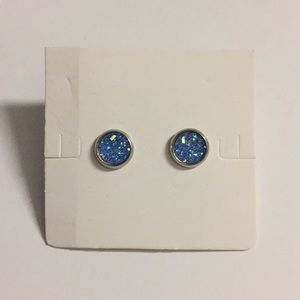 Cool Blue Manmade Druzy Stud Earrings